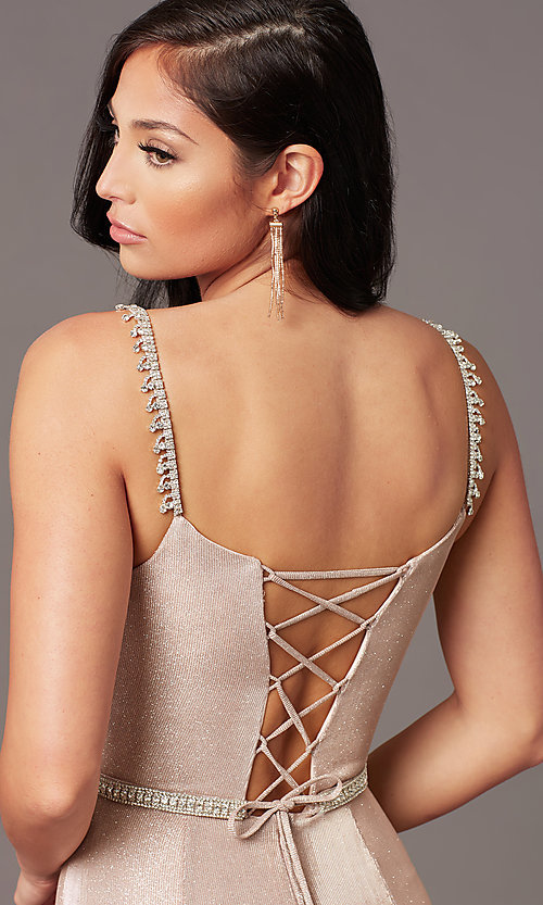 Image of long metallic-knit v-neck prom dress in rose gold. Style: DQ-2895 Detail Image 2