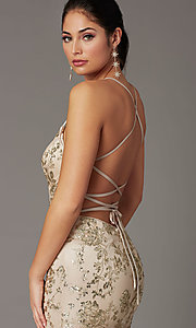 Image of long glitter-embellished gold mermaid prom dress. Style: DQ-2901 Detail Image 4