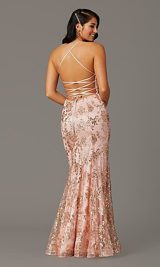 Long Glitter-Embellished Gold Mermaid Prom Dress