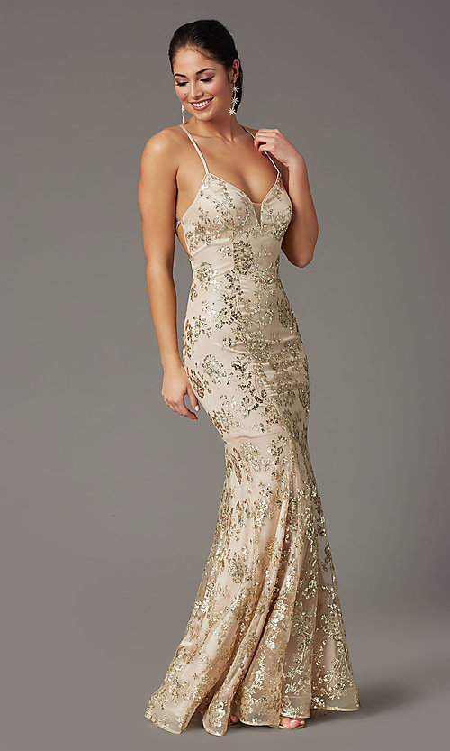 Image of long glitter-embellished gold mermaid prom dress. Style: DQ-2901 Detail Image 2
