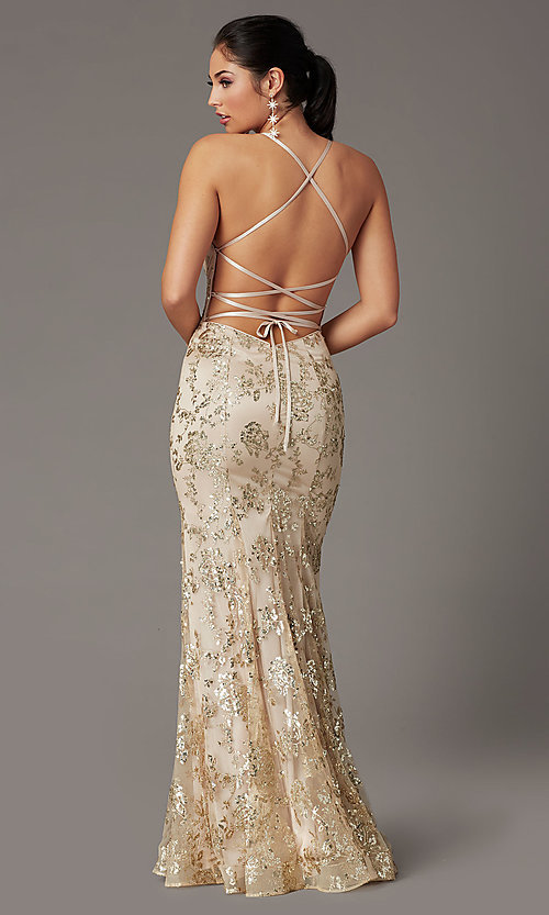 Image of long glitter-embellished gold mermaid prom dress. Style: DQ-2901 Detail Image 3