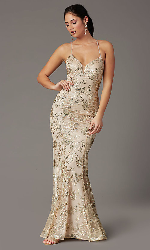 Image of long glitter-embellished gold mermaid prom dress. Style: DQ-2901 Detail Image 5