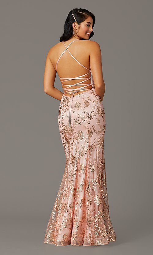 Image of long glitter-embellished gold mermaid prom dress. Style: DQ-2901 Front Image