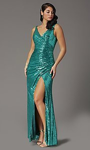 Image of sequin-embellished long v-neck tight prom dress. Style: DQ-2907 Detail Image 3
