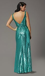 Image of sequin-embellished long v-neck tight prom dress. Style: DQ-2907 Detail Image 4