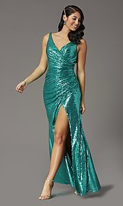 Image of sequin-embellished long v-neck tight prom dress. Style: DQ-2907 Detail Image 5