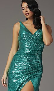 Image of sequin-embellished long v-neck tight prom dress. Style: DQ-2907 Detail Image 6