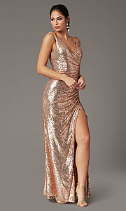 Image of sequin-embellished long v-neck tight prom dress. Style: DQ-2907 Front Image