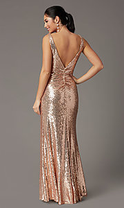 Image of sequin-embellished long v-neck tight prom dress. Style: DQ-2907 Back Image