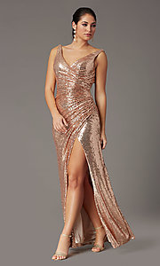 Image of sequin-embellished long v-neck tight prom dress. Style: DQ-2907 Detail Image 2