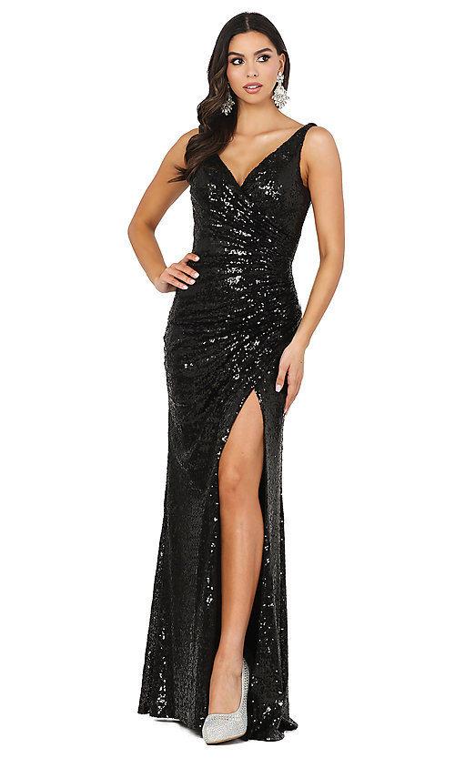 Image of sequin-embellished long v-neck tight prom dress. Style: DQ-2907 Detail Image 7
