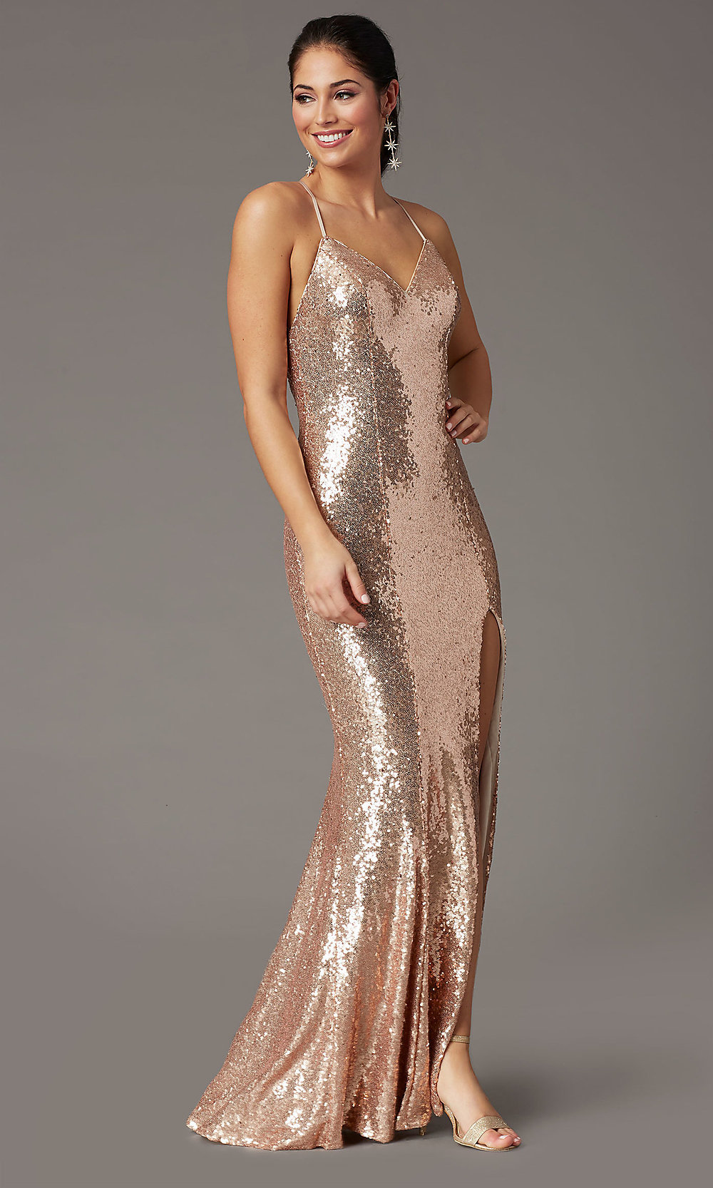 Long Sequin Formal Prom Dress in Rose