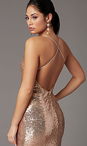 Image of backless rose gold long sequin formal prom dress. Style: DQ-2919 Detail Image 1