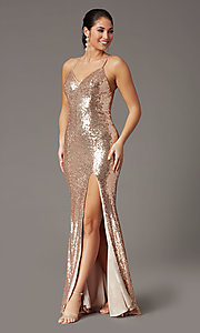 Image of backless rose gold long sequin formal prom dress. Style: DQ-2919 Detail Image 2