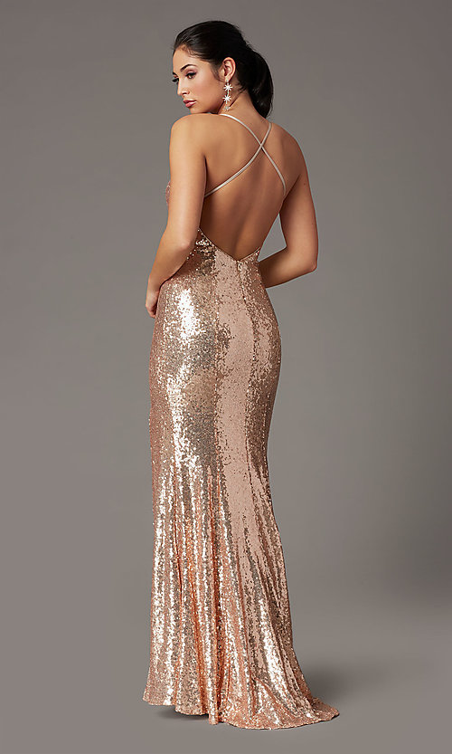 Image of backless rose gold long sequin formal prom dress. Style: DQ-2919 Back Image