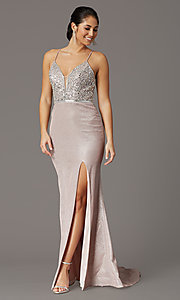 Image of beaded-bodice sparkly long rose gold prom dress. Style: DQ-2922 Front Image