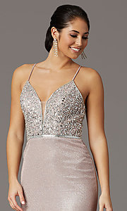 Image of beaded-bodice sparkly long rose gold prom dress. Style: DQ-2922 Detail Image 1