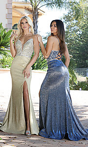 Image of beaded-bodice sparkly long rose gold prom dress. Style: DQ-2922 Detail Image 5
