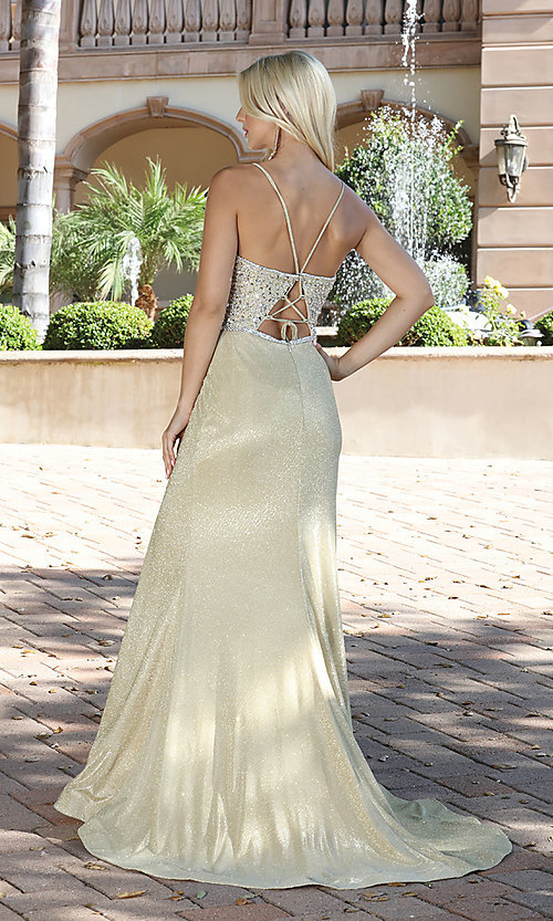 Image of beaded-bodice sparkly long rose gold prom dress. Style: DQ-2922 Detail Image 3