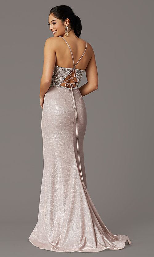 Image of beaded-bodice sparkly long rose gold prom dress. Style: DQ-2922 Back Image