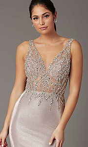 Image of metallic rose gold prom dress with beaded bodice. Style: DQ-2941 Detail Image 1