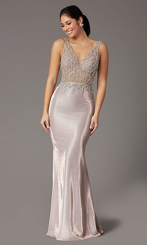 Image of metallic rose gold prom dress with beaded bodice. Style: DQ-2941 Front Image