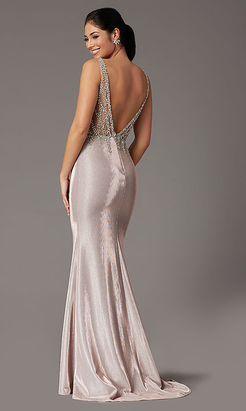 Image of metallic rose gold prom dress with beaded bodice. Style: DQ-2941 Back Image