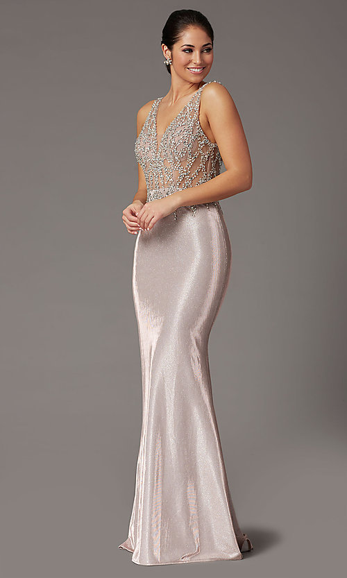 Image of metallic rose gold prom dress with beaded bodice. Style: DQ-2941 Detail Image 2