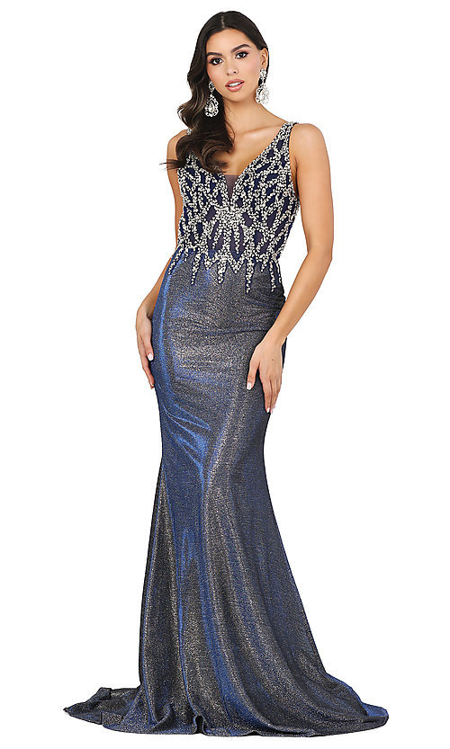 Image of metallic rose gold prom dress with beaded bodice. Style: DQ-2941 Detail Image 3