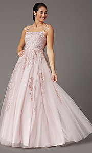 Image of corset-back dusty pink long embroidered prom dress. Style: DQ-2942 Detail Image 2