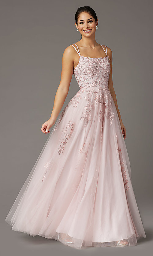 Image of corset-back dusty pink long embroidered prom dress. Style: DQ-2942 Front Image