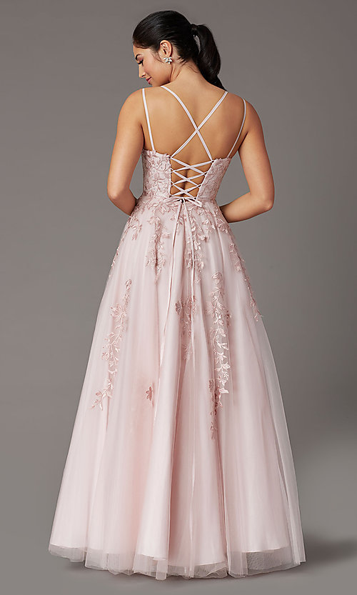 Image of corset-back dusty pink long embroidered prom dress. Style: DQ-2942 Back Image