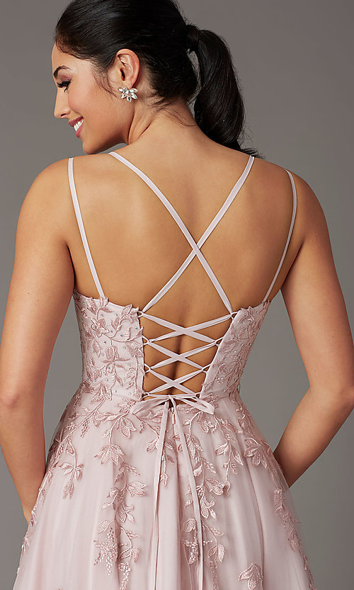Image of corset-back dusty pink long embroidered prom dress. Style: DQ-2942 Detail Image 1