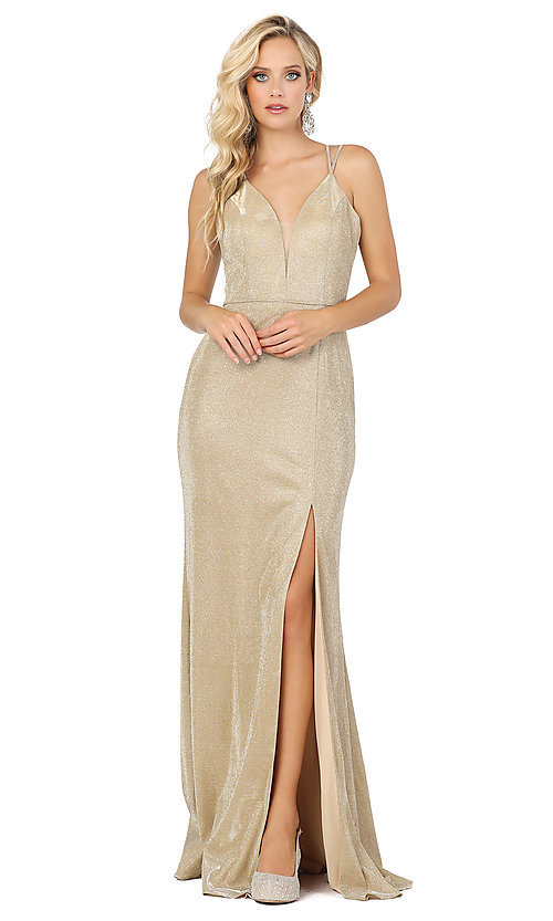 Image of long corset-back metallic formal prom dress. Style: DQ-2947 Detail Image 3