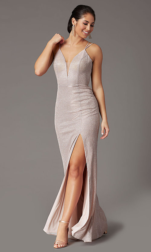 Image of long corset-back metallic formal prom dress. Style: DQ-2947 Front Image