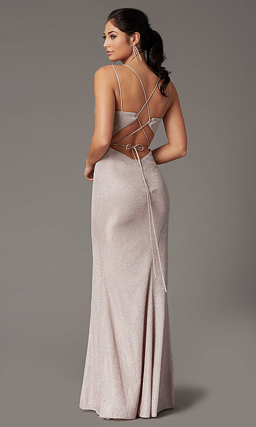 Image of long corset-back metallic formal prom dress. Style: DQ-2947 Back Image