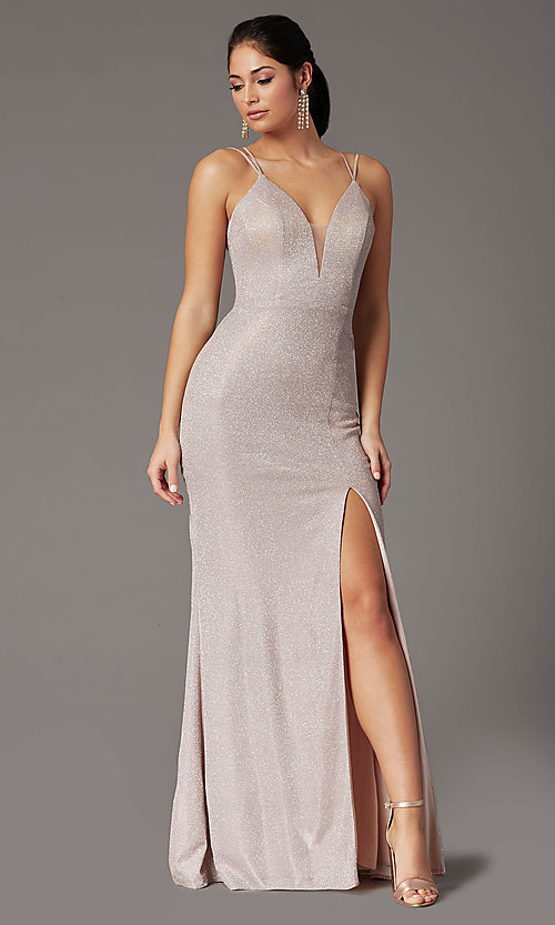 Image of long corset-back metallic formal prom dress. Style: DQ-2947 Detail Image 2