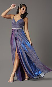 Image of glitter-knit long faux-wrap prom dress. Style: DQ-2955 Detail Image 1
