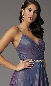 Image of glitter-knit long faux-wrap prom dress. Style: DQ-2955 Detail Image 2