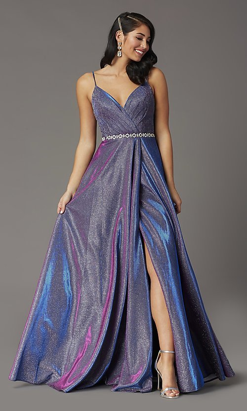 Image of glitter-knit long faux-wrap prom dress. Style: DQ-2955 Front Image