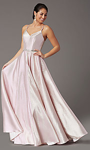 Image of long metallic glitter prom dress with corset. Style: DQ-2958 Detail Image 6