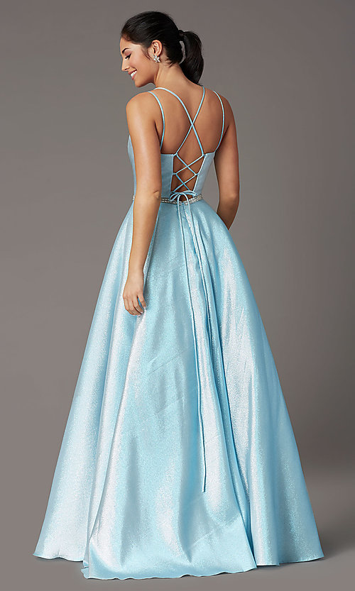 Image of long metallic glitter prom dress with corset. Style: DQ-2958 Back Image