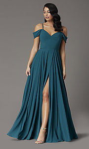Image of long faux-wrap hunter green formal prom dress. Style: DQ-2961 Front Image