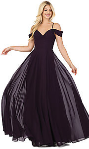 Image of long faux-wrap hunter green formal prom dress. Style: DQ-2961 Detail Image 3