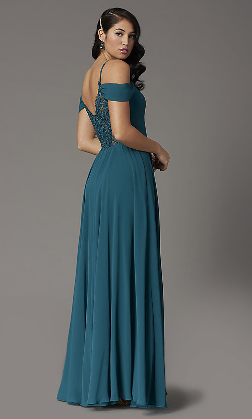 Image of long faux-wrap hunter green formal prom dress. Style: DQ-2961 Back Image