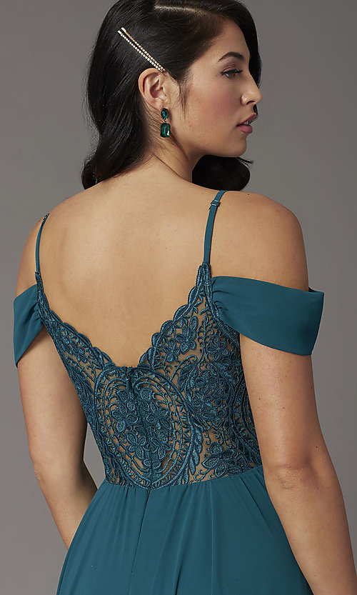 Image of long faux-wrap hunter green formal prom dress. Style: DQ-2961 Detail Image 1