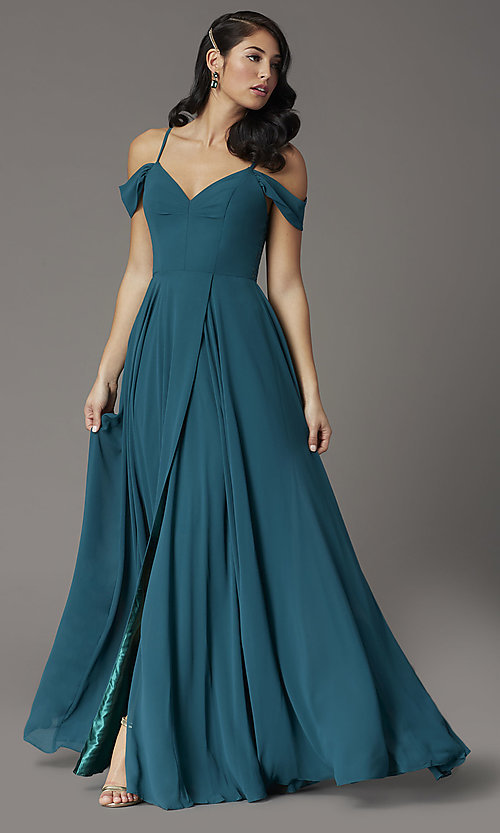 Image of long faux-wrap hunter green formal prom dress. Style: DQ-2961 Detail Image 2