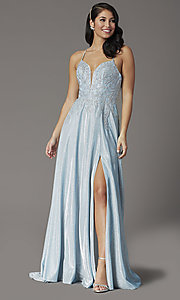 Image of long glitter-knit v-neck prom dress with corset. Style: DQ-2968 Front Image