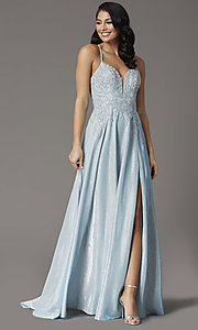 Image of long glitter-knit v-neck prom dress with corset. Style: DQ-2968 Detail Image 2