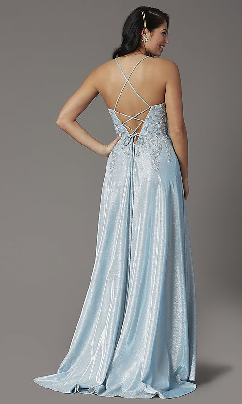 Image of long glitter-knit v-neck prom dress with corset. Style: DQ-2968 Back Image